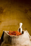Spices saffron in a bag Royalty Free Stock Photography