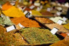 Spices for sale. Mixture of spices for sale Royalty Free Stock Photo