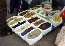 Spices on sale. Spices and condiment on sale at a market in Mumbai Royalty Free Stock Images