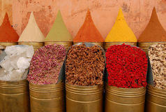 Spices for sale in Moroccan market Royalty Free Stock Image