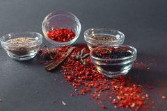 Spices scattered on a black background stock photography