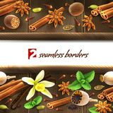 Spices seamless borders Royalty Free Stock Photography