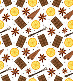 Spices seamless pattern. Mulled wine and chocolate endless background, texture. Vector illustration. Stock Photos