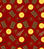 Spices seamless pattern. Mulled wine and chocolate endless background, texture. Vector illustration. Stock Photo