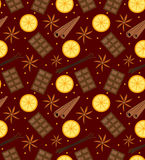 Spices seamless pattern. Mulled wine and chocolate endless background, texture. Vector illustration. Royalty Free Stock Image