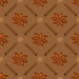 Spices seamless pattern. Star anise, nutmeg, cinnamon sticks. Royalty Free Stock Photography