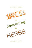 Spices, seasoning and herbs words Royalty Free Stock Photography