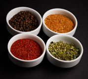 Spices, seasonings on black background Royalty Free Stock Photos