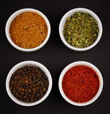 Spices, seasonings on black background Stock Images