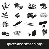 Spices and seasonings black icons set Stock Images