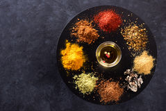 Spices, seasonings and herbs. Culinary concept Royalty Free Stock Photography