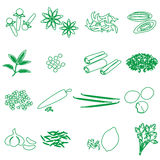 Spices and seasonings outline icons set eps10 Stock Images