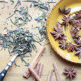Spices. seasonings. the star anise. tea. steelite. cinnamon. Stock Photos