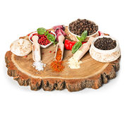 Spices and seasonings on a wooden background Royalty Free Stock Photos