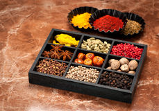 Spices and seasonings in a wooden box, Stock Image