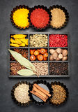 Spices, seasonings  in wooden box Stock Photo