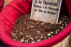 Spices, seeds and tea sold in a traditional market in Granada, S Royalty Free Stock Images