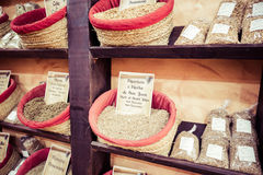 Spices, seeds and tea sold in a traditional market in Granada, S Royalty Free Stock Photo