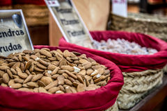 Spices, seeds and tea sold in a traditional market in Granada, S Royalty Free Stock Photos