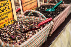 Spices, seeds and tea sold in a traditional market in Granada, S Stock Image