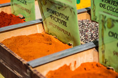 Spices, seeds and tea sold in a traditional market in Granada, S Stock Images