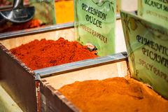 Spices, seeds and tea sold in a traditional market in Granada, S Stock Photography