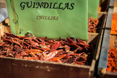Spices, seeds and tea sold in a traditional market in Granada, S Stock Photo