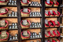 Spices, seeds and tea sold in a traditional market in Granada Royalty Free Stock Photo