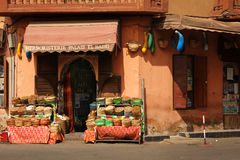 Spices seller at the Souk. Marrakesh. Morocco Stock Images