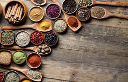 Spices. Set of spices in different bowls stock image