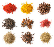 Spices set top view Stock Photos