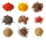 Spices set top view Stock Photos