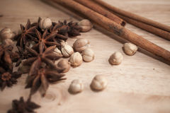 Cinnamon, Cardamon, Star Anise Royalty Free Stock Image