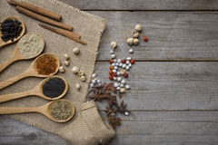 Spices set on wood spoons and wood backgrund Stock Image