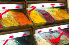 Spices in shop display Royalty Free Stock Photos