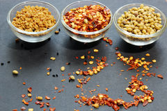 Spices in small bowls Royalty Free Stock Photos