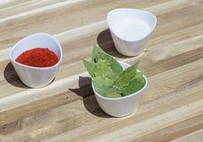 Spices in small dishes on a tray. Royalty Free Stock Photography