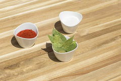 Spices in small dishes on a tray. Stock Images