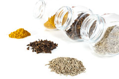 Spices a small group and in banks on a white background Royalty Free Stock Images