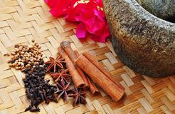 Spices on a sort of bamboo Royalty Free Stock Photos