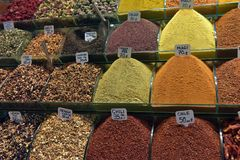 Spice sold on market. Spices at the spice market in Istanbul Stock Photos