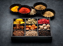 Spices, spicy, seasonings  in wooden box. Royalty Free Stock Photos