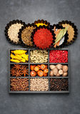 Spices, spicy, seasonings  in wooden box Royalty Free Stock Image