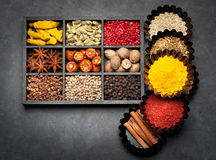 Spices, spicy, seasonings  in wooden box Stock Photo