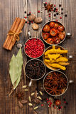 Spices and spicy, top view Stock Images