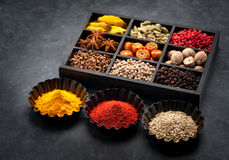 Spices, spicy in wooden box Stock Image