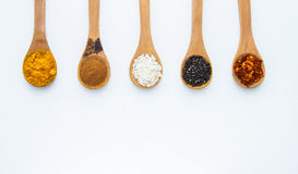 Spices on the spoon background. Royalty Free Stock Photo