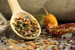 Spices in the spoon with chilli Stock Photo