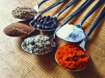 Spices. In spoons Royalty Free Stock Image