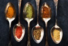 Spices in spoons background. stock images